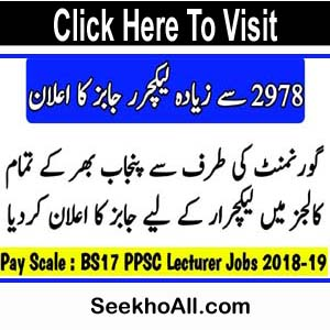 PPSC Lecturer Jobs 2019 | 2978+ Lecturer Vacancies - Online Registration