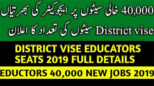 Photo of District Wise Educators Seats 2019 Full Details | Educators 40,000 New Jobs